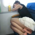 My friend's GF on the train to Yokohama (Don't tell)